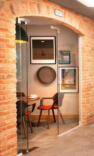 Brick archways in Costa's office