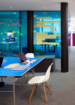 Office wall with post-it notes
