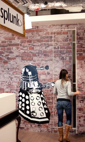 Graffiti in warehouse-style office