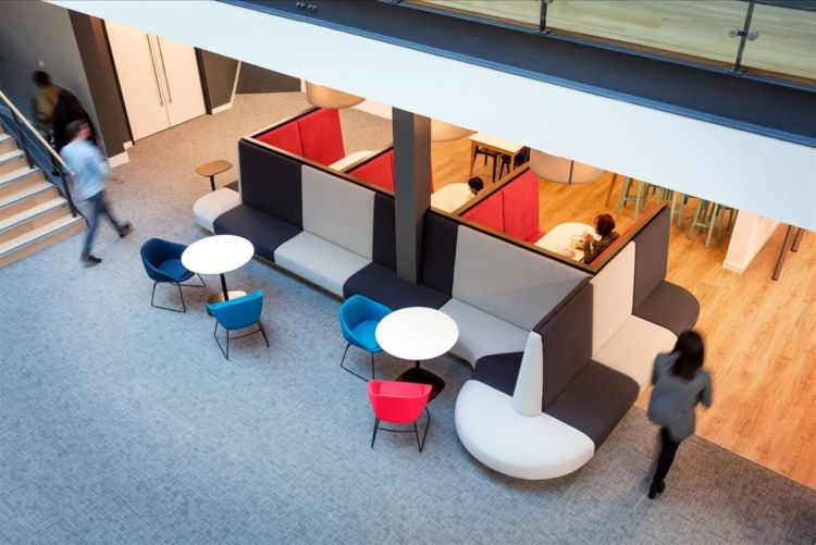 Overhead view of plus sofas with coloured fabrics