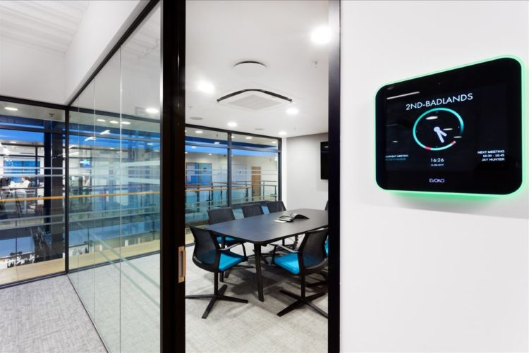 Meeting room in a modern office design with electronic controls