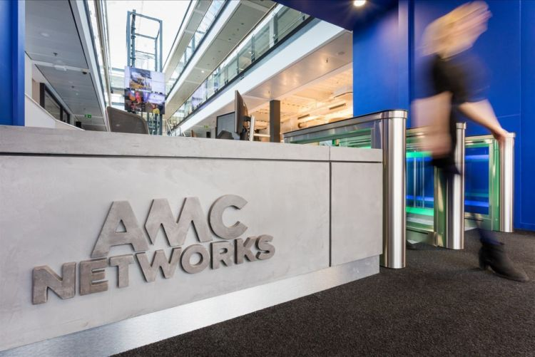 AMC Networks International logo in modern office reception