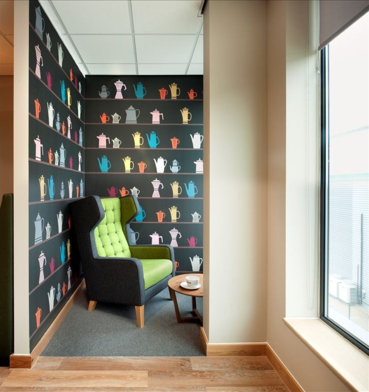 Funky office deisng with a cosy armchair and coffee print wallpaper