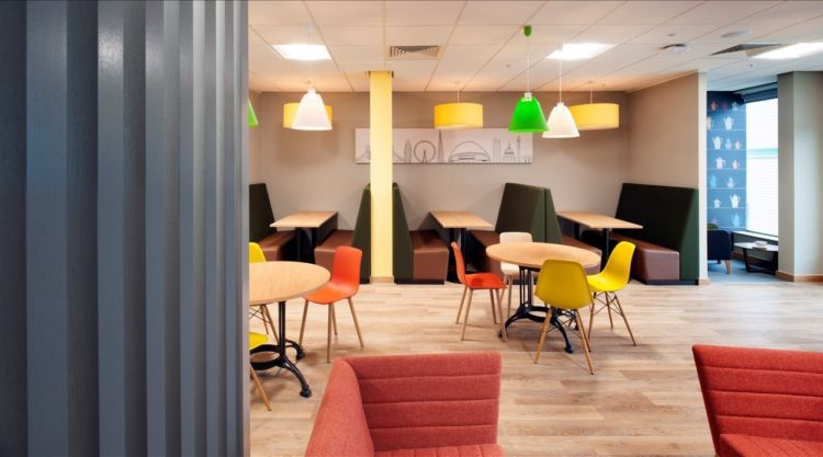 Office breakout area with booth seating in new Costa fit out