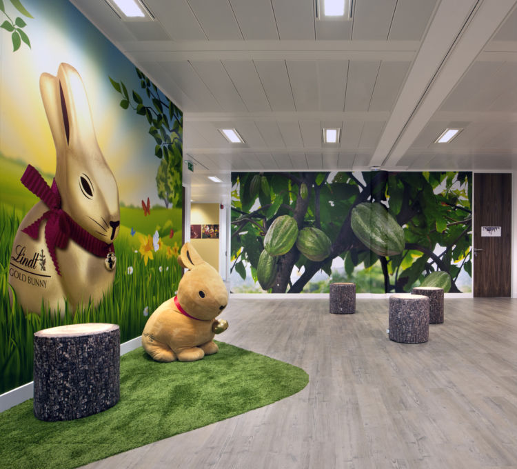 A giant Lindt bunny and wall detailing inside the Lindt office fit out in Feltham