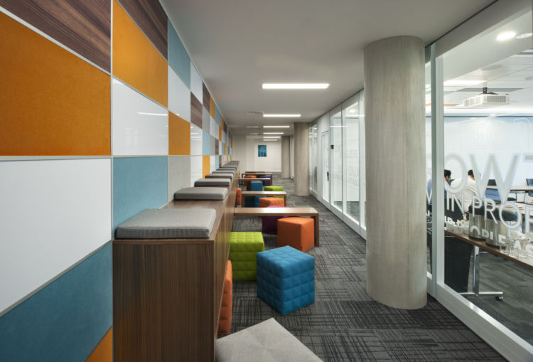 Inspiring office with bright walls and coloured stools
