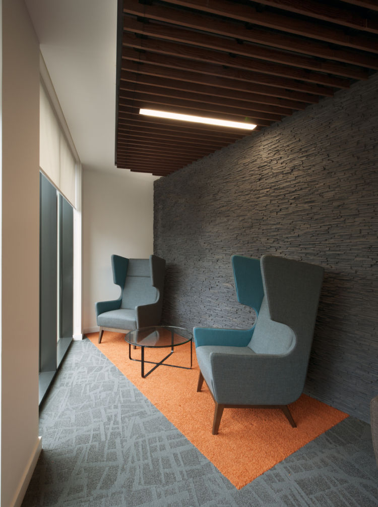 Modern furnishings in private meeting area
