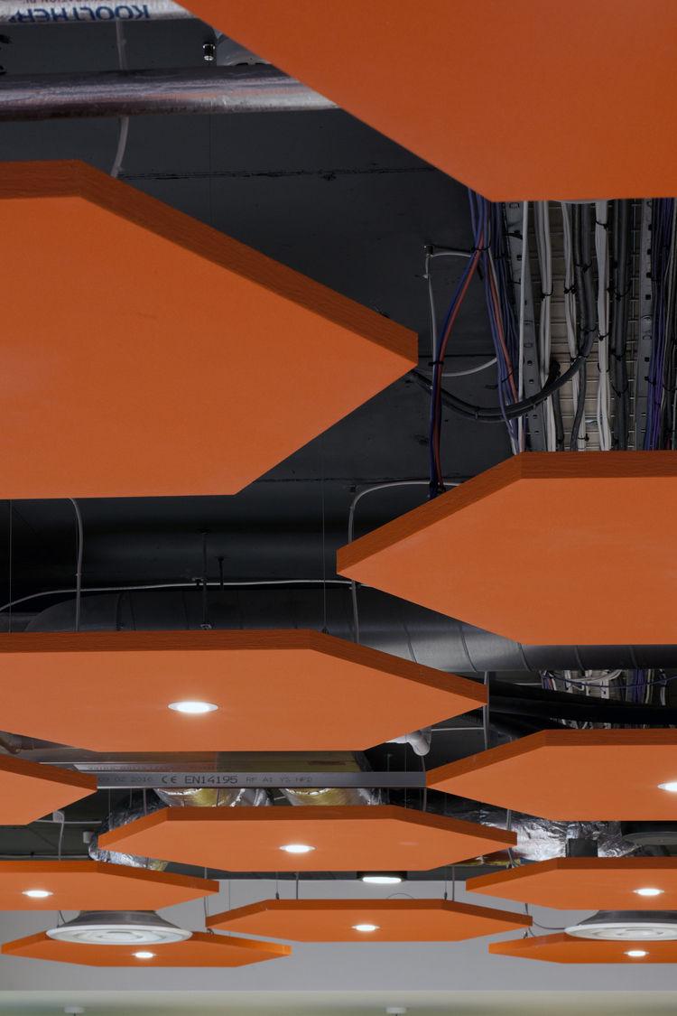 Orange honeycomb ceiling