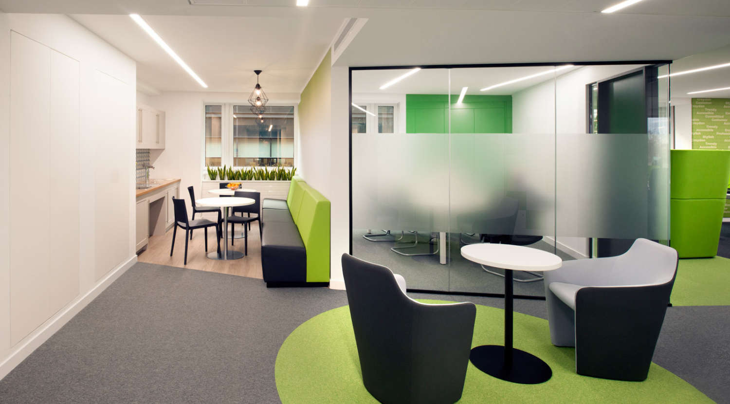 Varied meeting spaces with green design touches