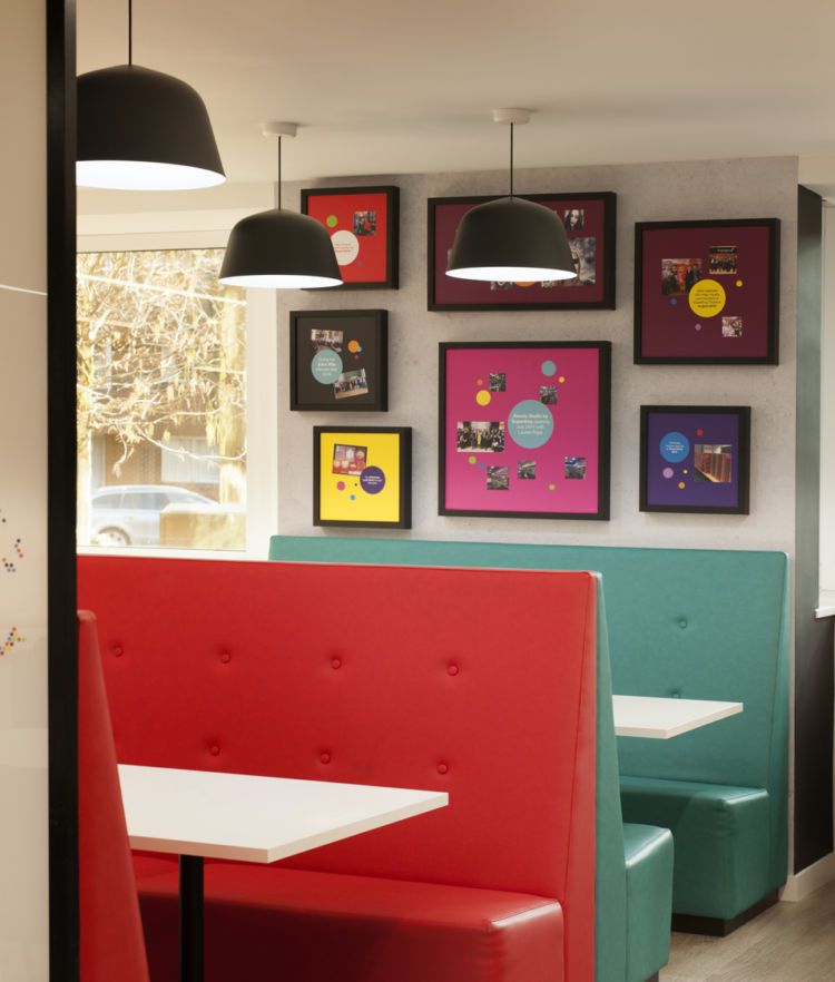 Colourful office booth seating