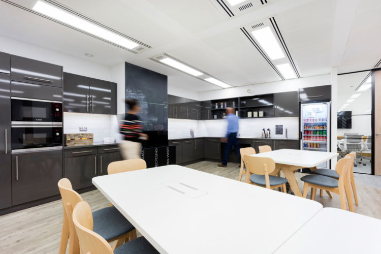 Staff kitchen and dining area in the office fit out for Alan Turing Institute