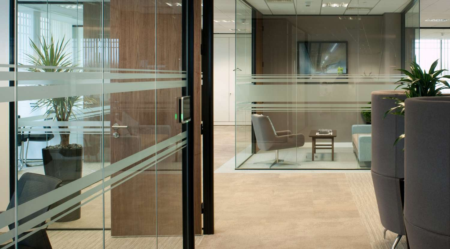 Glass paneling opens up with halways