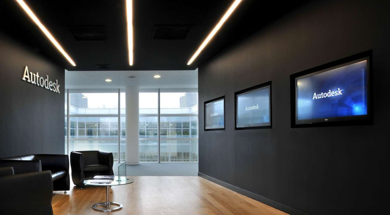 Client waiting area with large media screens