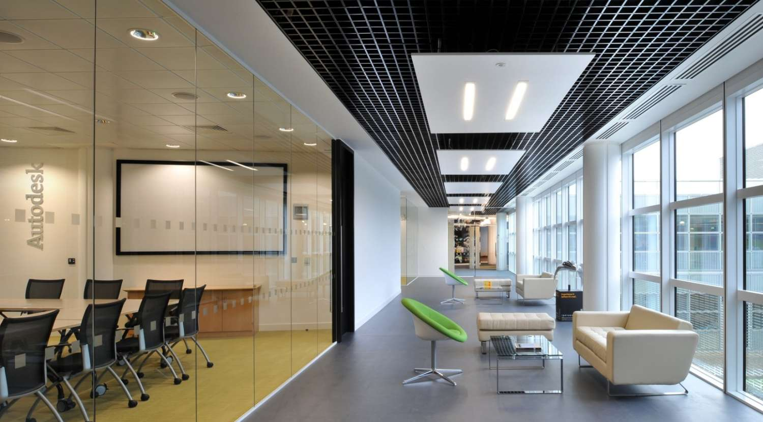 Glass-clad meeting rooms in the office fit out for Autodesk