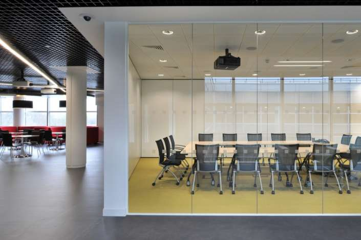 Glass provides light in this office design