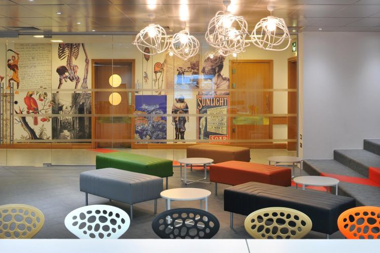 Breakout area in the office design for British Library