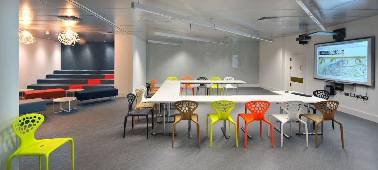 Colourful conference seating, designed by Morgan Lovell
