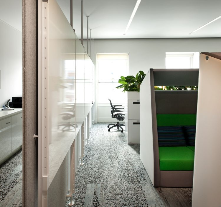 Whiteboards, chairs and plants in modern office fit out