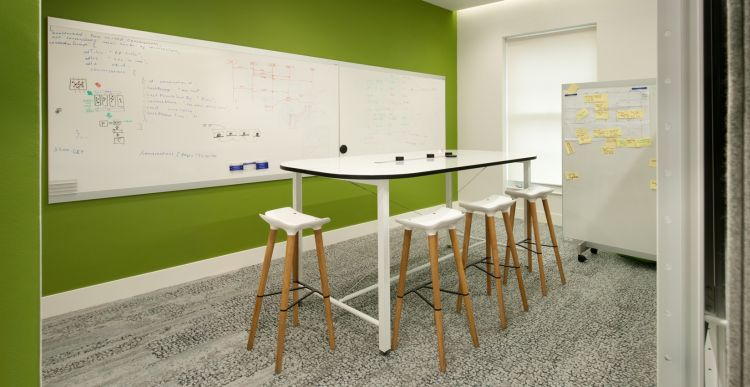 Whiteboards, high chairs and standing table in modern office fit out