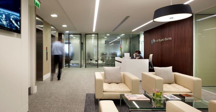 Reception area leading to meeting rooms