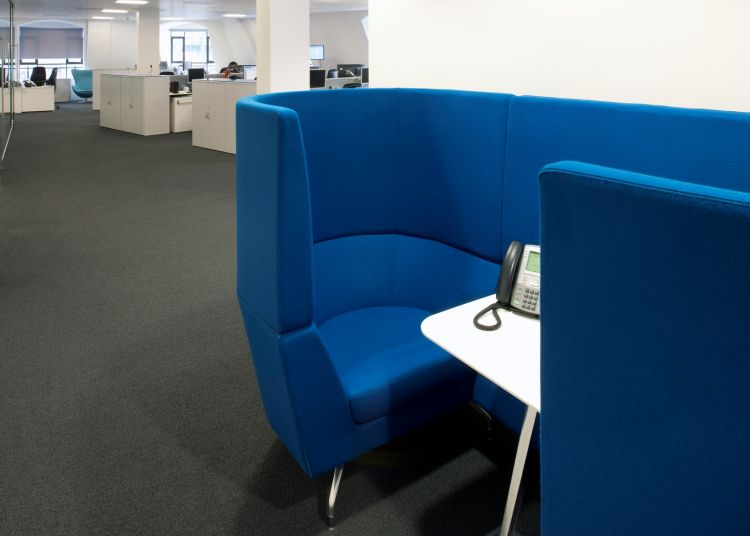 Private calling booth in open plan office layout
