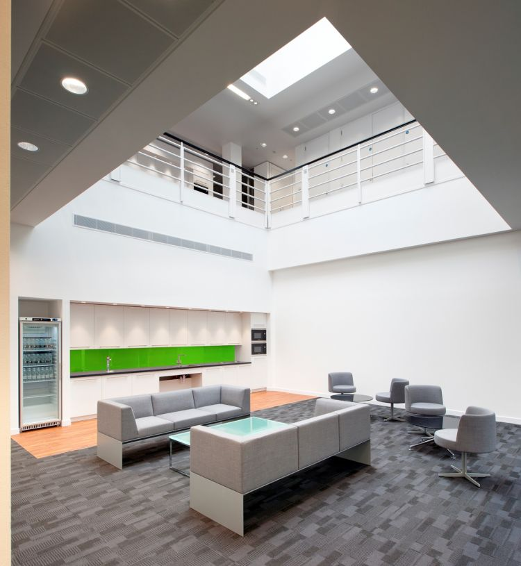 Meeting area with kitchen in open plan office