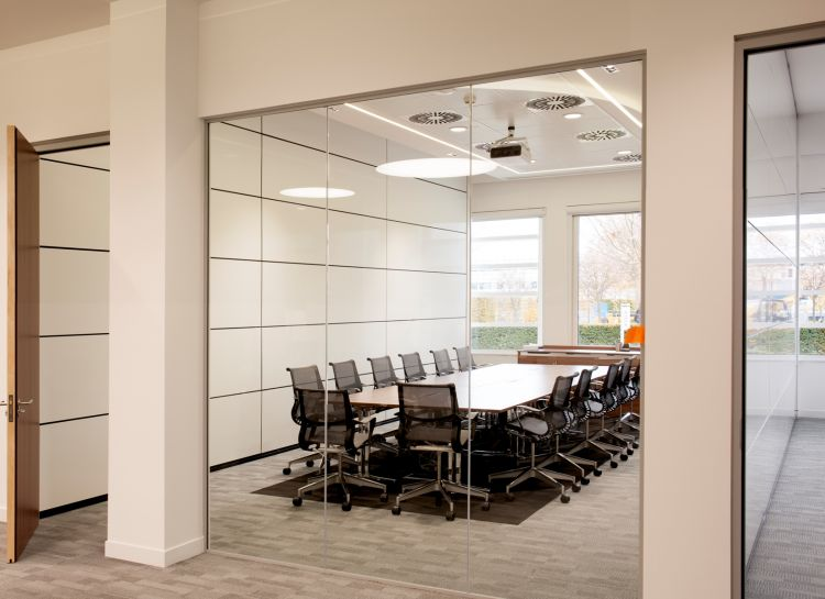 Looking into a large, modern corporate office boardroom