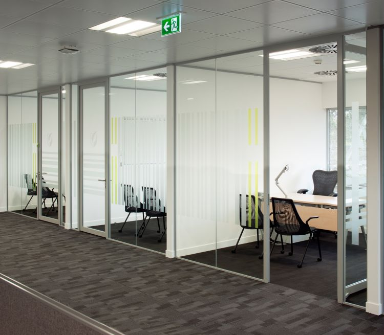 Looking into private offices and small meeting rooms