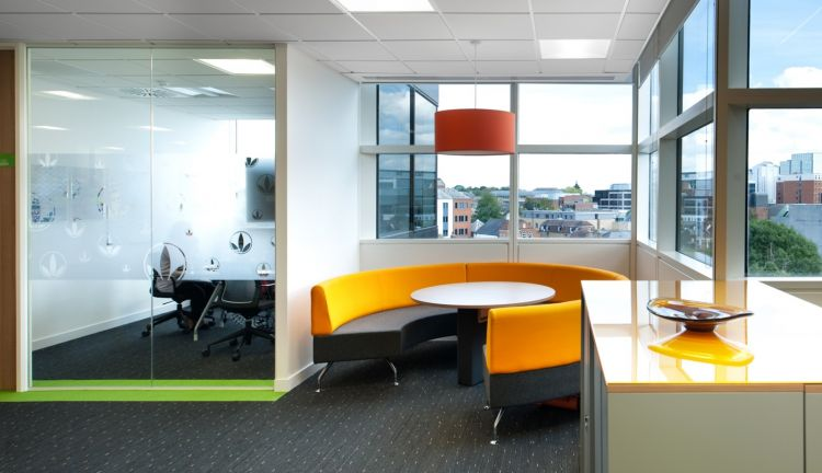 Designer coloured furniture and light fittings in modern office fit out