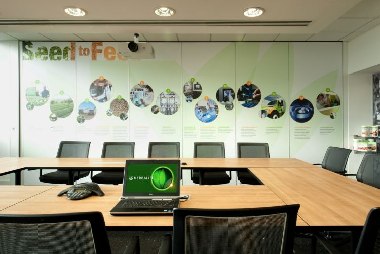 Boardroom with wall graphics and projector in modern office