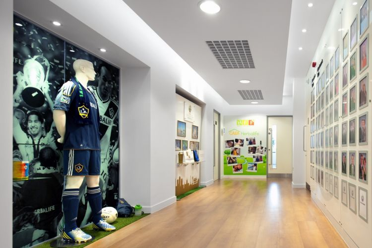 Bright hallway with wall graphics