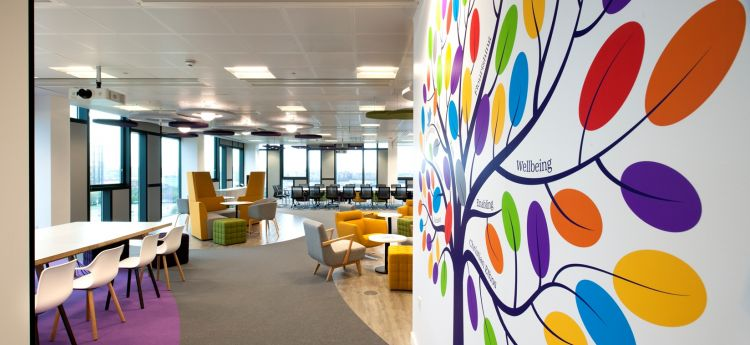Large floor-to-ceiling mural of the Livability tree showcases their brand in this office fit out