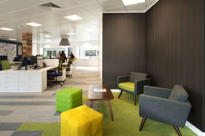 Workstations and comfortable furniture in open plan office fit out