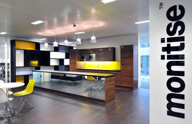 Wooden and glass designer staff kitchen in modern office fit out