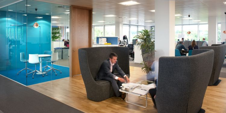 Semi-private meeting pods in an open-plan office fit out