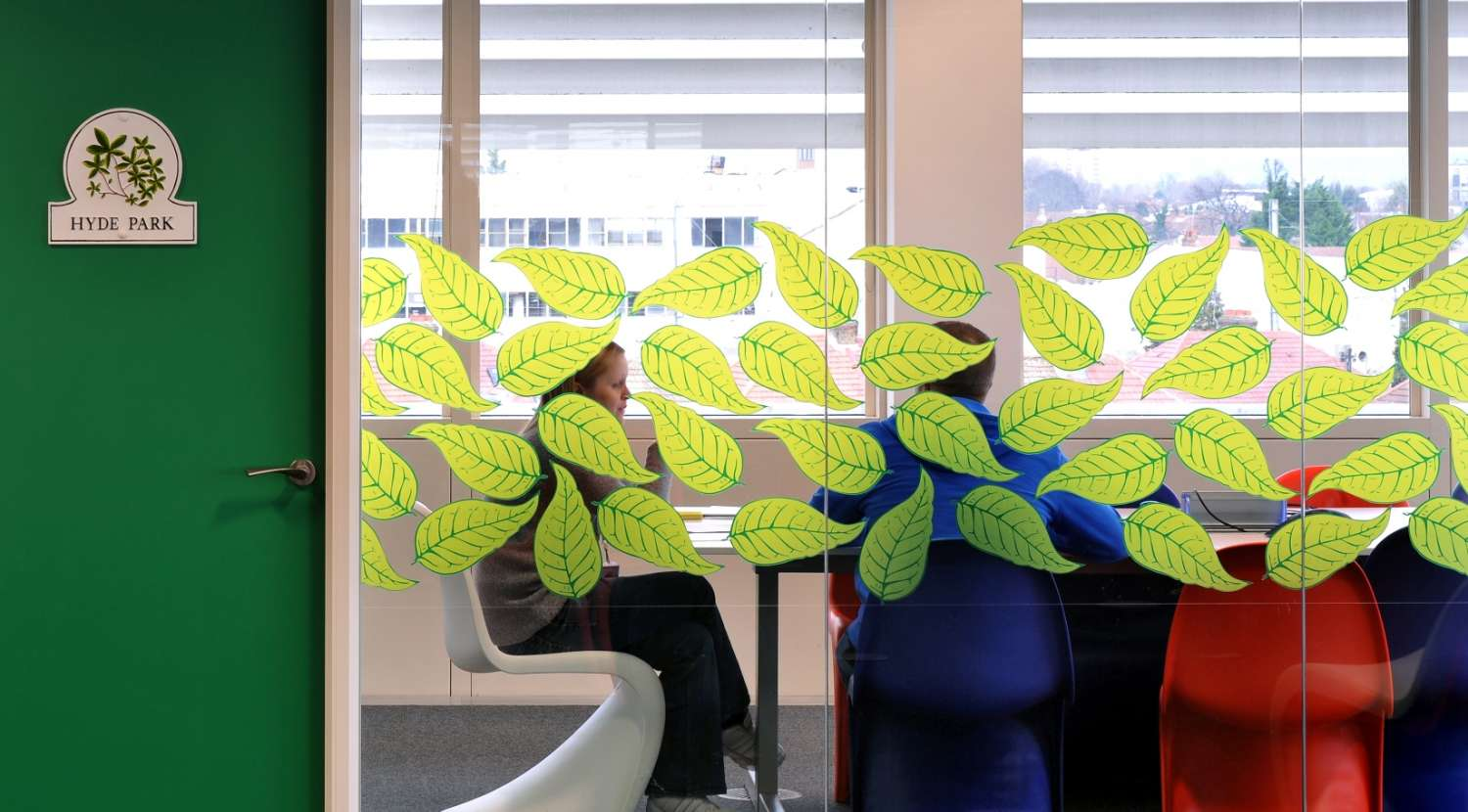 Leaf motif to add character and privacy to meetings at Rackspace