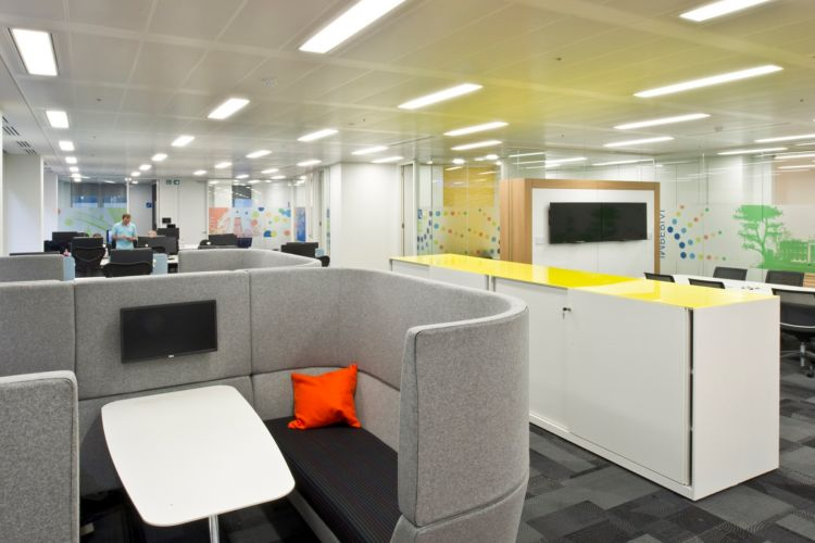 Designer meeting pods with grey fabric and AV facilities in open plan office