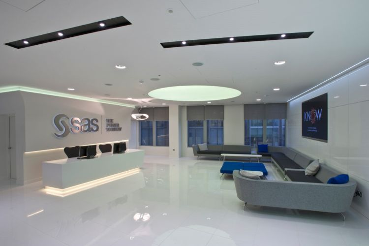 Slick offie reception with lounges and polished flooring