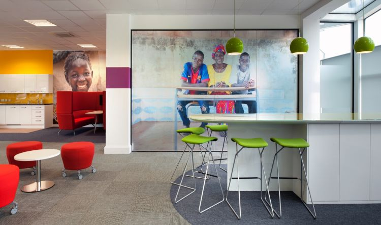 Wall graphics add colour and character to this open plan office