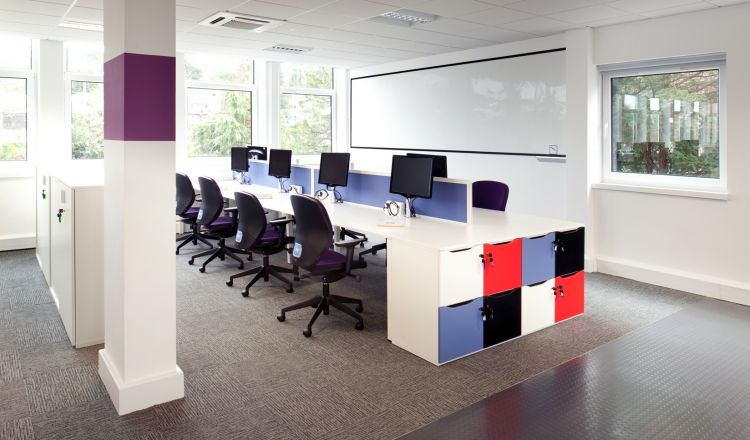 Workstations with storage facilities in open plan office fit out