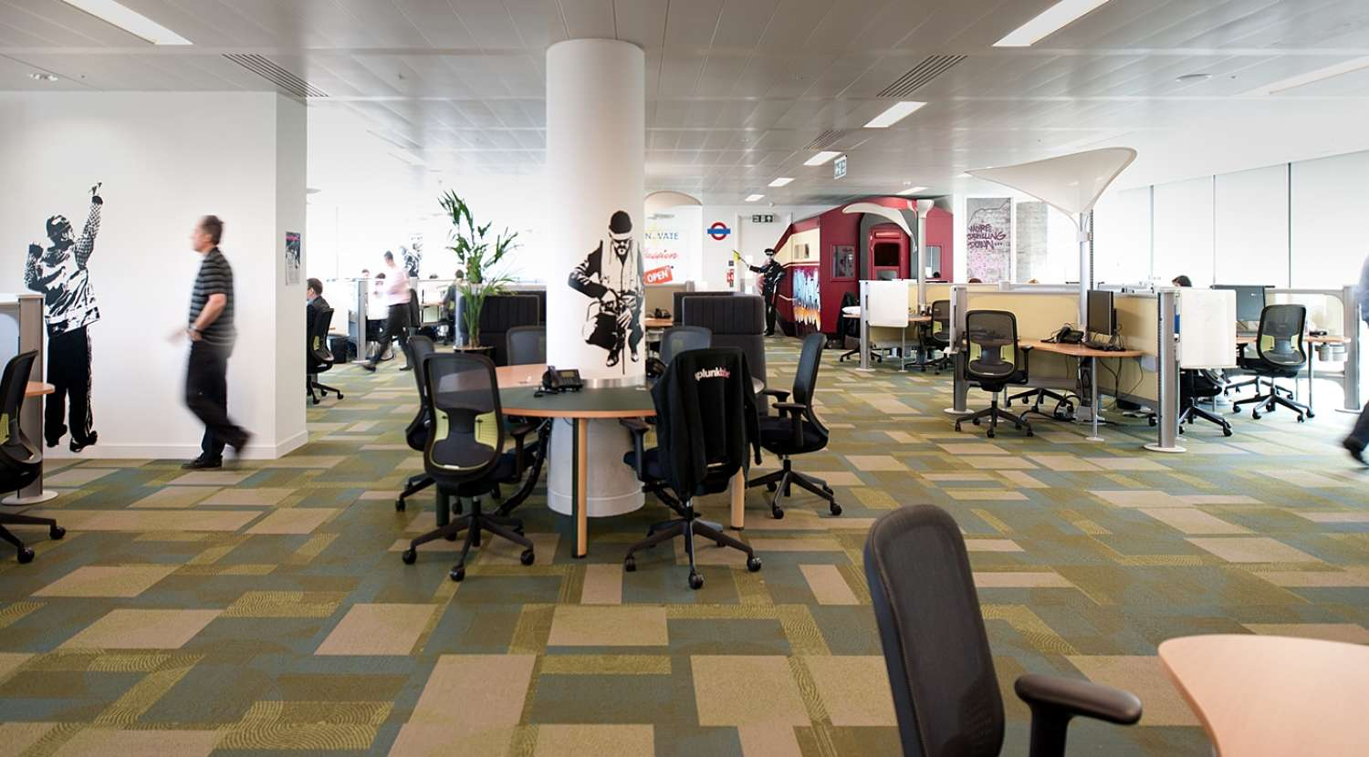 Open plan workplace with urban design hints for Splunk