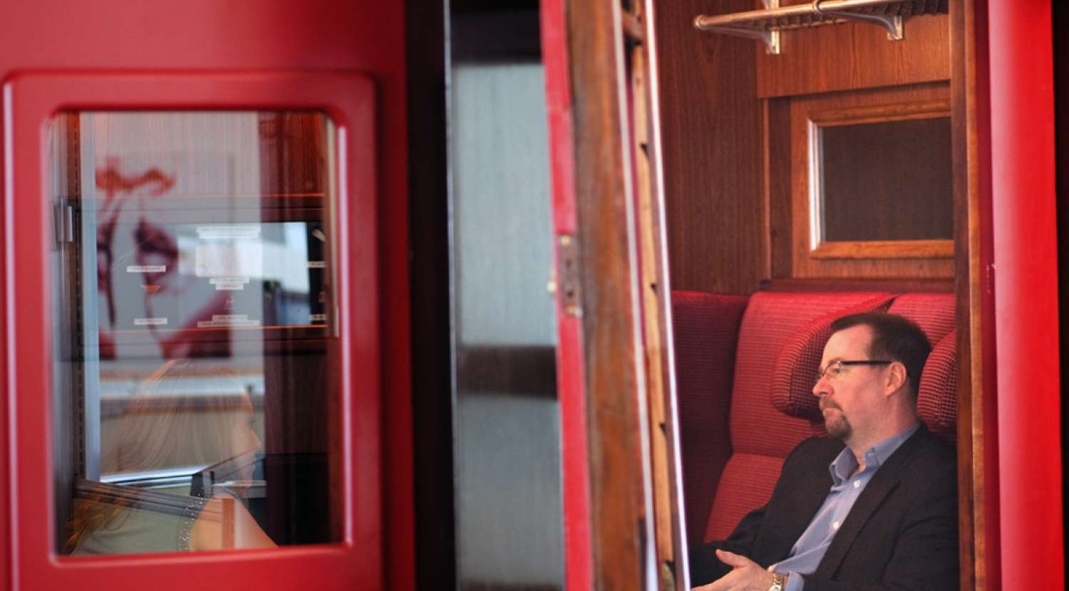 Tube carriage converted into a soundproof meeting room / Design and fit out by Morgan Lovell