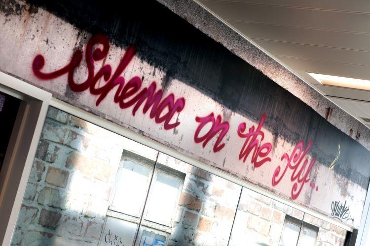Interior graffiti in the urban office design for Splunk in London