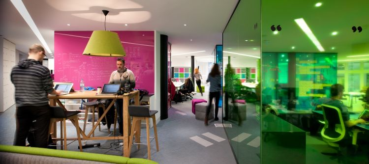 Bright designer office space with standing desks and coloured walls