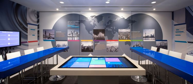 Interactive screens in this technology-focused office fit out